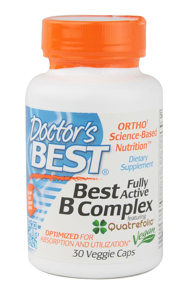 Fully Active Folate With Quatrefolic 400 Mcg: Doctor's Best Fully Active B Complex Vegan 30 Veggie